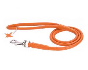 Collar Glamour okrúhle kožené vodítko Orange