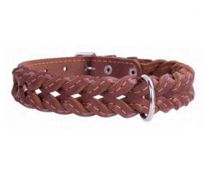 COLLAR kožený obojok prepletaný brown
