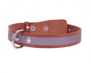 Collar kožený reflexný obojok brown