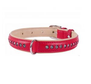 COLLAR Brilliance kožený obojok s kryštáľmi Red