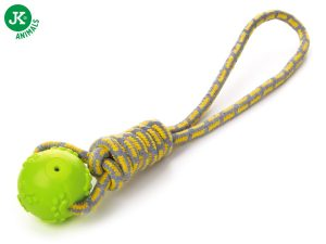 Bavlnené preťahovadlo s TPR zelenou loptou, odolná (gumová) hračka z termoplastickej gumy