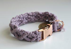 RubME MACRAME designový obojok ružový 3 cm