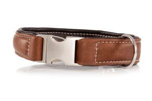 Maelson – ručne šitý obojok z pravej kože – hnedý ( Obvod :49-55 cm)